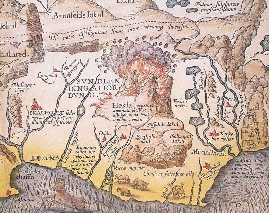 Abraham Ortelius' 1585 map of Iceland, showing the fiery Hekla volcano in clear detail.
