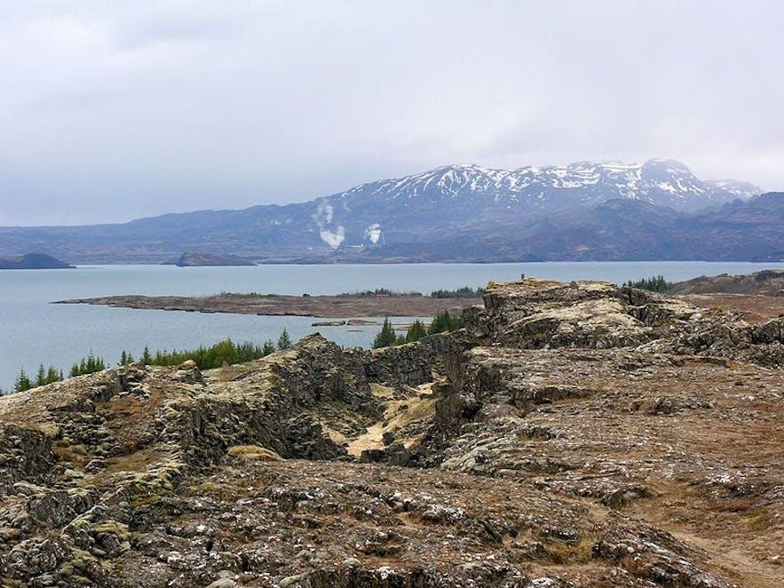 Hengill volcano, in the background, overlooks the UNESCO site, Þingvellir National Park.