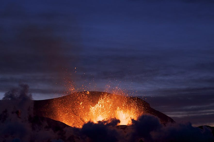 Lava and ash spouting from the caldera of Eyjafjallajökull.