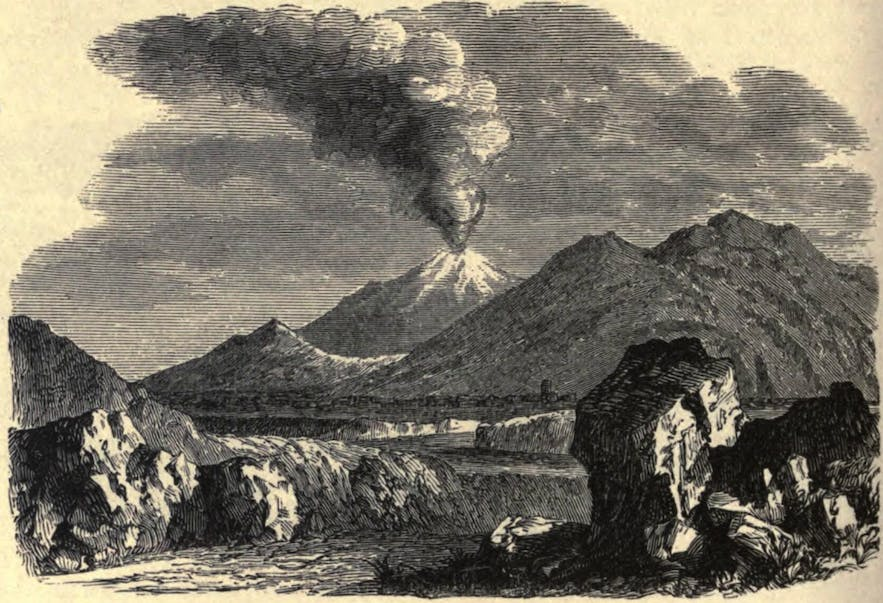 An early illustration of one of Hekla's 19th Century eruptions.