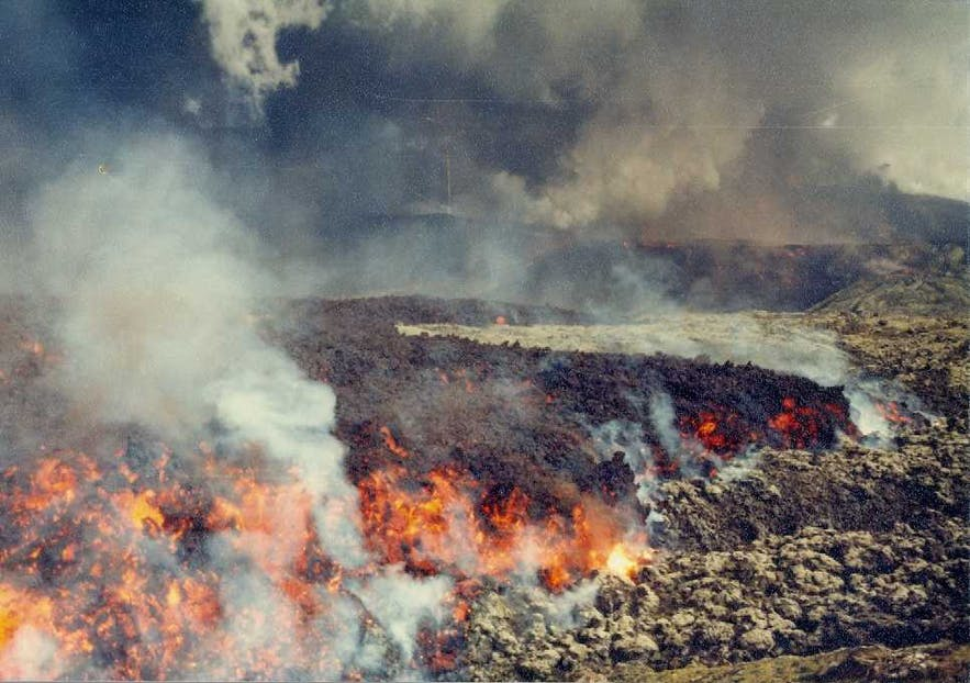 Heimaey, as photographed during the 1973 eruption.