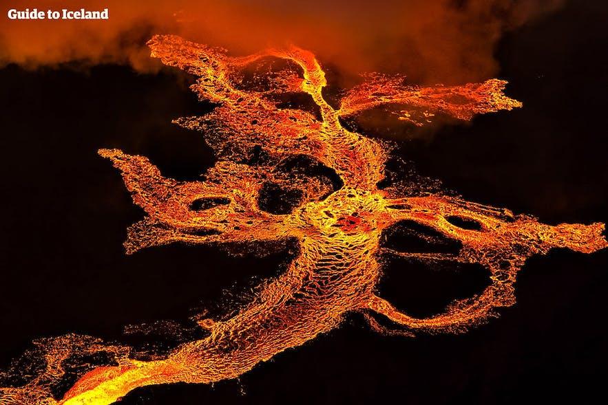 Lava escaping the volcanic system of Bárðarbunga.