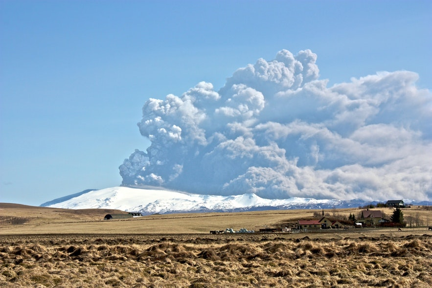 Eyjafjallajökull captured during its 2010 eruption.