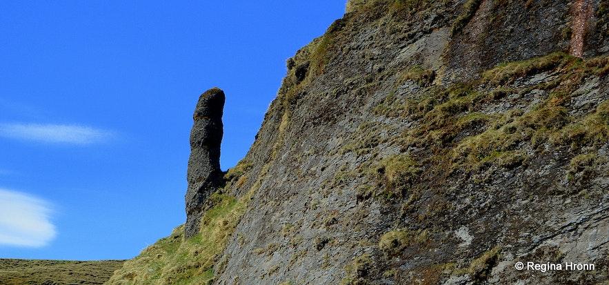 A phallus looking rock formation at Kirkjubæjarklaustur