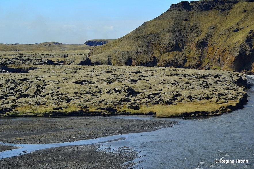 Eldmessutangi spit where the lava flow stopped