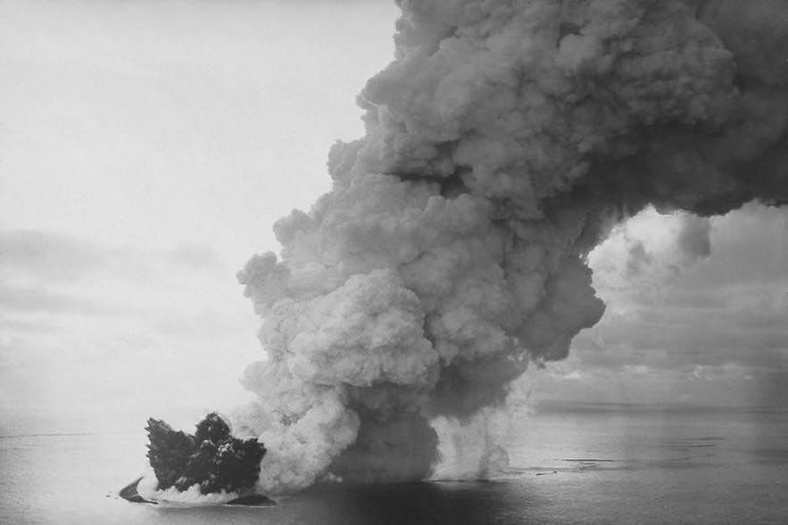Surtsey being formed in the earliest stages.