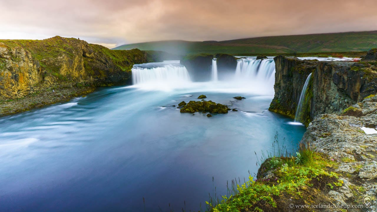 Godafoss waterfall is an important site, tied to Iceland's religious history.