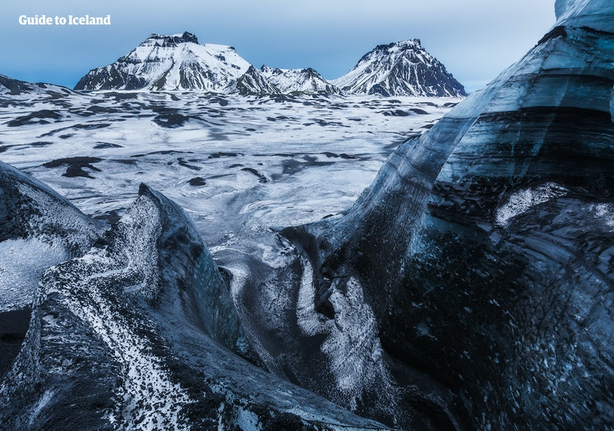 Mýrdalsjökull has many outlets, one of which is Sólheimajökull.