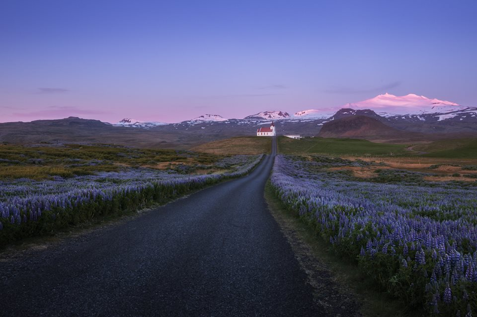 Views towards the snow-capped mountaintop of Snæfellsjökull glacier in the West part of Iceland.
