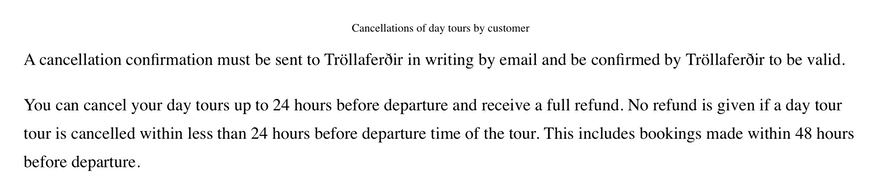Tour operator cancellation policy