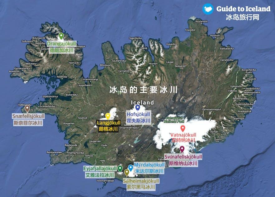 冰岛冰川地图