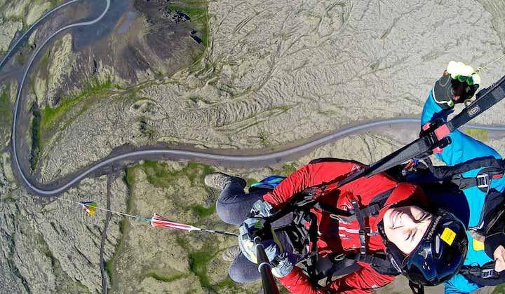 Get a fantastic view of the Icelandic landscape on a paragliding tour.