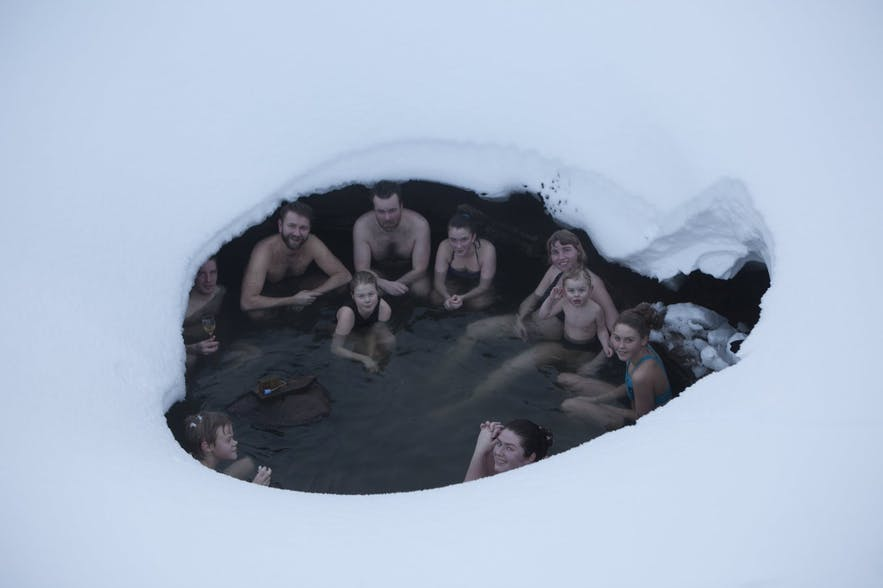 One out of two natural hot spring pools by Laugarfell mountain hut in East Iceland.