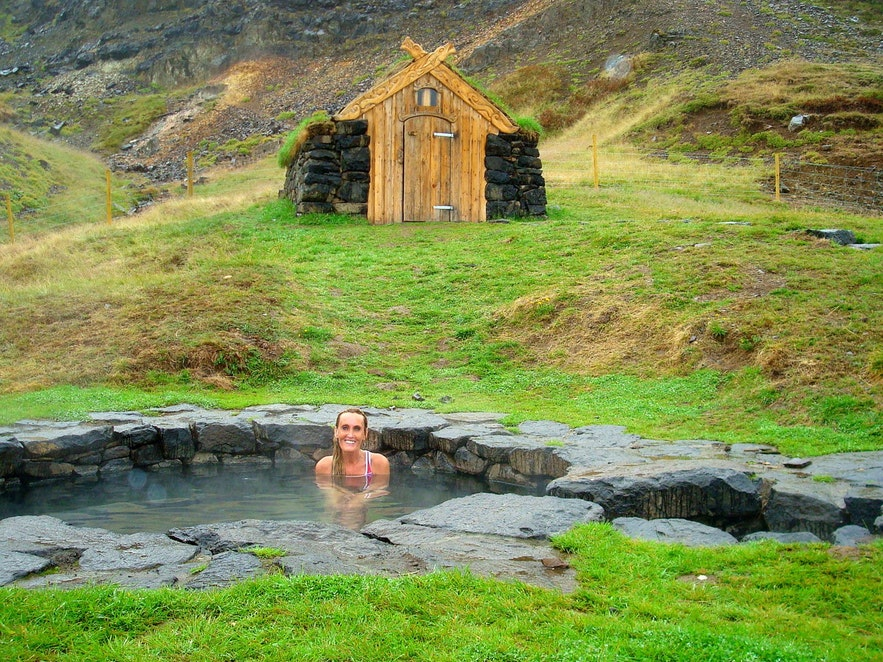 Relaxing in a historic hot spring in West Iceland, Guðrúnarlaug