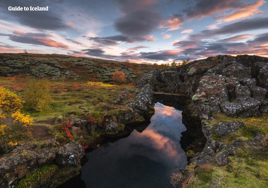 Þingvellir national park at night time.