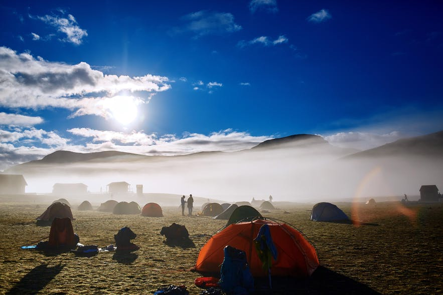 Camp in Iceland and make the most of the beautiful summer days in Iceland.