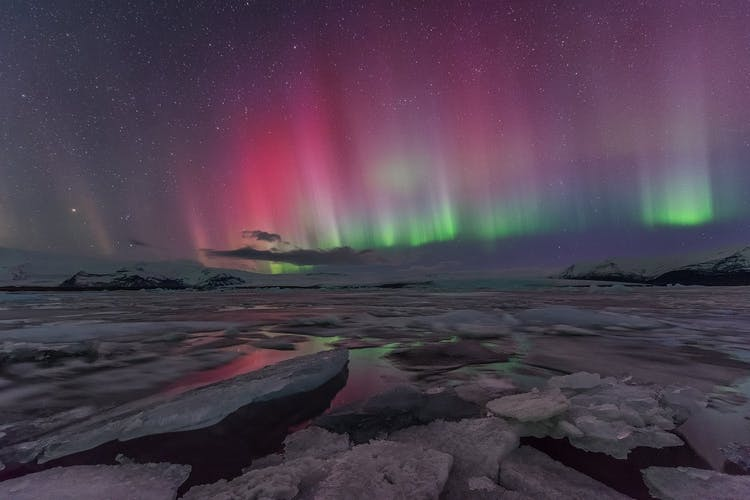 Northern Lights dance in brilliant pinks and greens over Jökulsárlón glacial lagoon, 'The Crown Jewel of Iceland'.