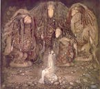 An illustration of three Icelandic trolls.