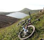 You will take a short break on your mountain bike tour to enjoy the beautiful Icelandic nature.