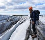 Enjoying the view over Sólheimajökull glacier on a glacier hiking tour.