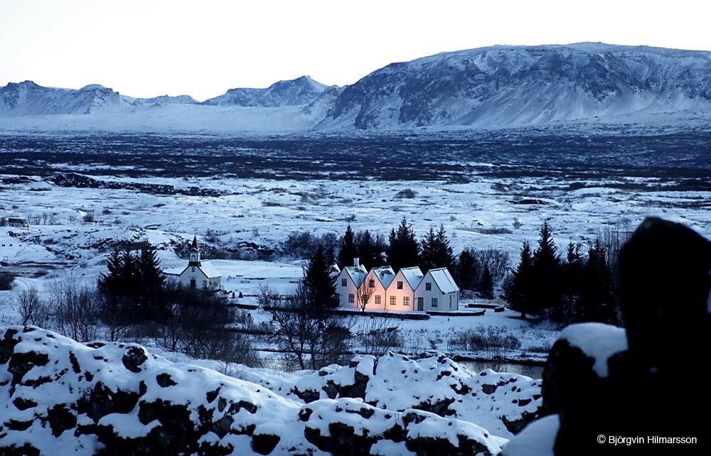 Þingvellir National Park as seen in the wintertime.