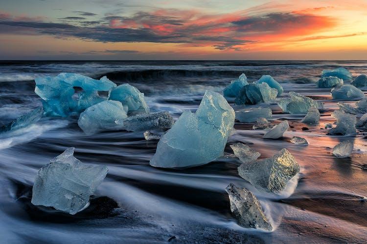 Ancient ice-bergs on the Diamond Beach near Jökulsárlón glacier lagoon.