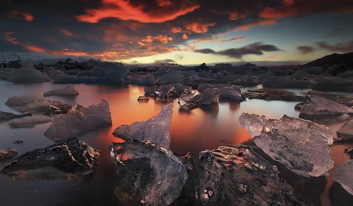 Jökulsárlón glacier lagoon at sunset.