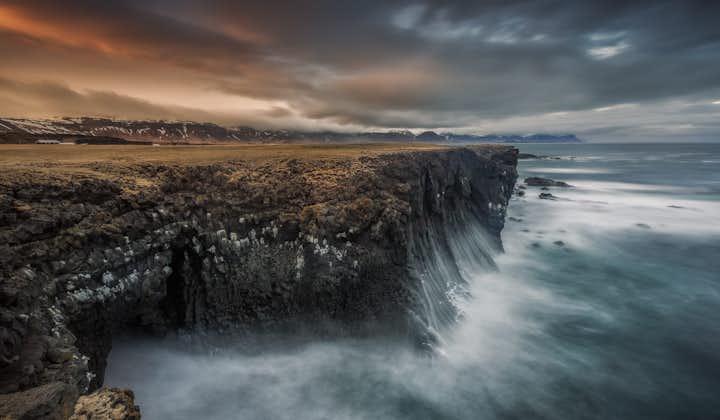 The dramatic cliffs near Arnarstapi village on the Snæfellsnes Peninsula.