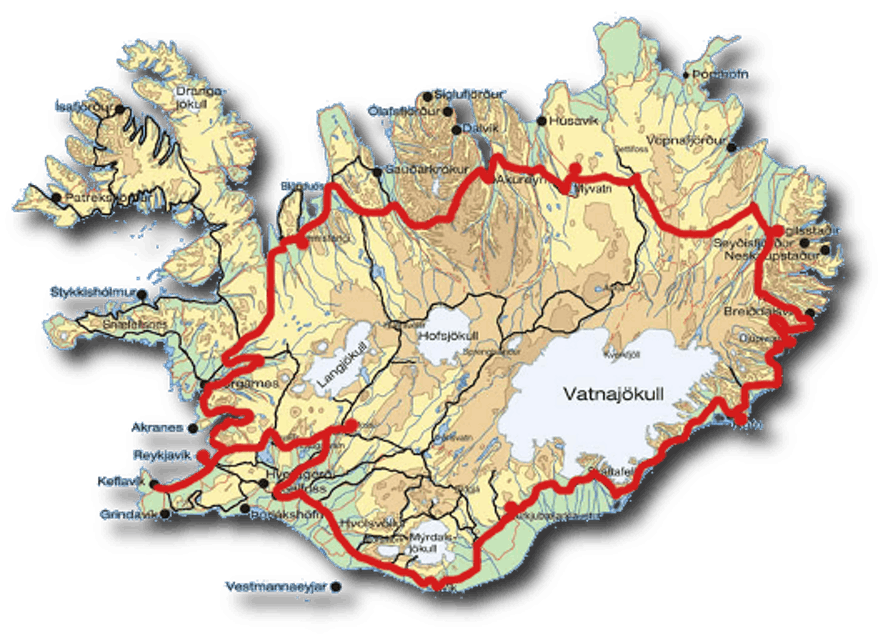 A map of the Ring Road (Route 1) of Iceland