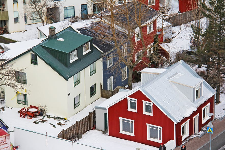 A look over some of the colourful, tin-roofed homes of Reykjavík.