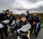 Happy snorkellers at Silfra fissure.