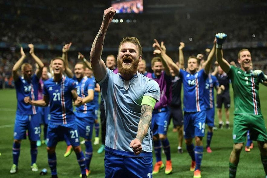 Icelandic football team at Euro Cup in 2016