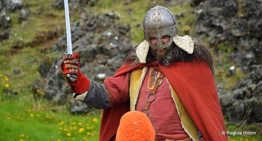 A Viking at the The annual Viking festival in Hafnarfjörður
