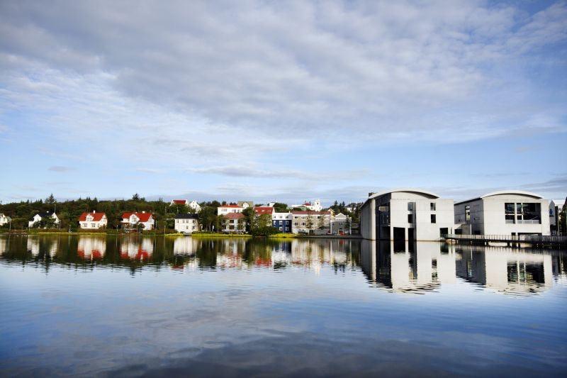 Reykjavík's City Hall and the lake Tjörnin.