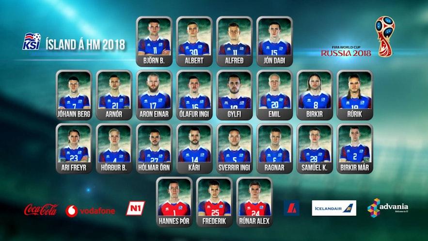 出征2018年俄罗斯世界杯的冰岛队球员