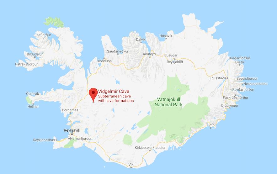 Vidgelmir 火山岩洞位置