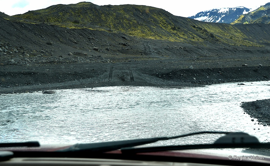 Crossing a river to Gígjökull glacier South-Iceland