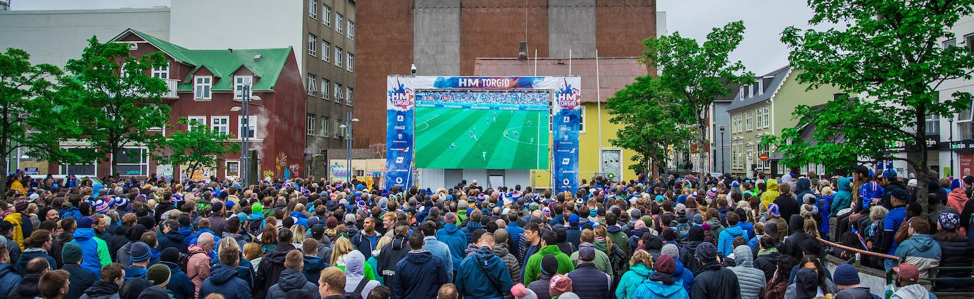 A large crowd gathering at Ingólfstorg square to watch Iceland vs Nigeria at the World Cup