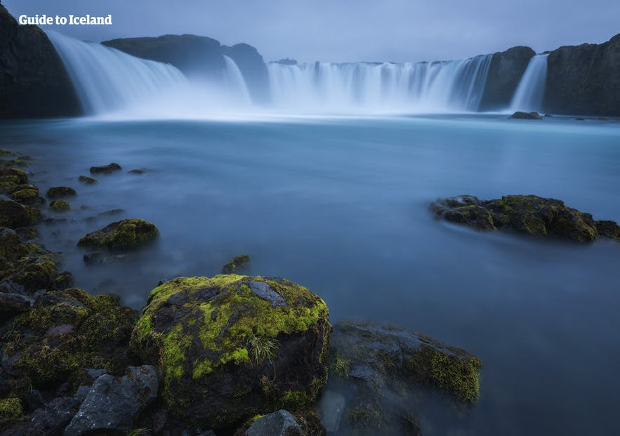 Goðafoss waterfall is located in North Iceland.