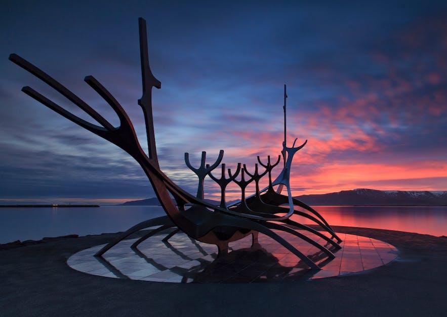 Sólfarið sculpture by Reykjavík's coast.