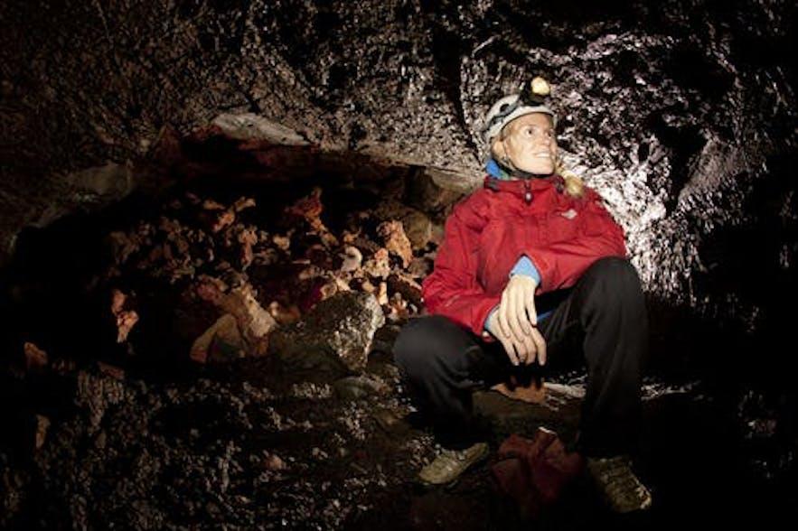 Leiðarendi cave is a prim example of an Icelandic lava tube.