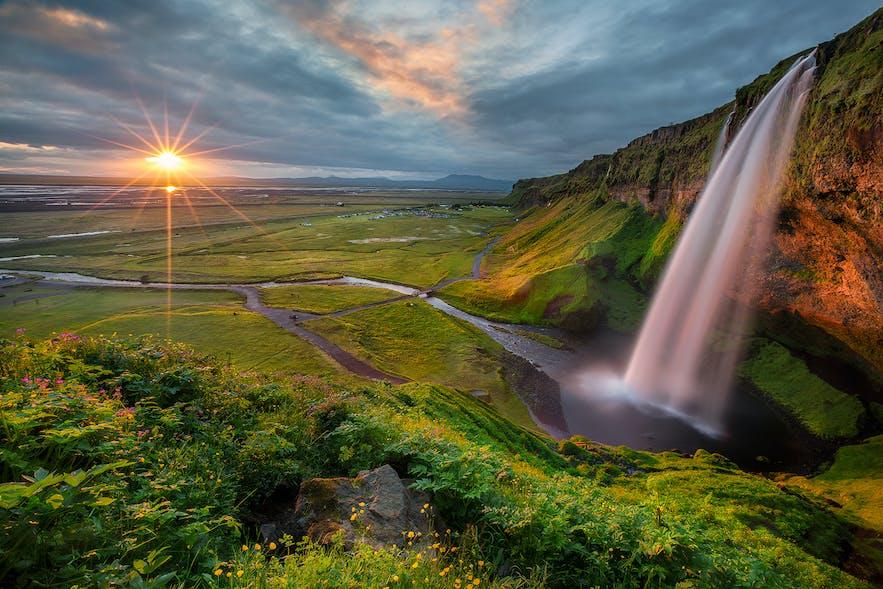 Seljalandsfoss waterfall during the golden hour.