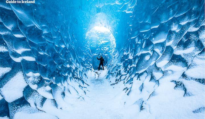 Inside an ice cave in Vatnajökull National Park.