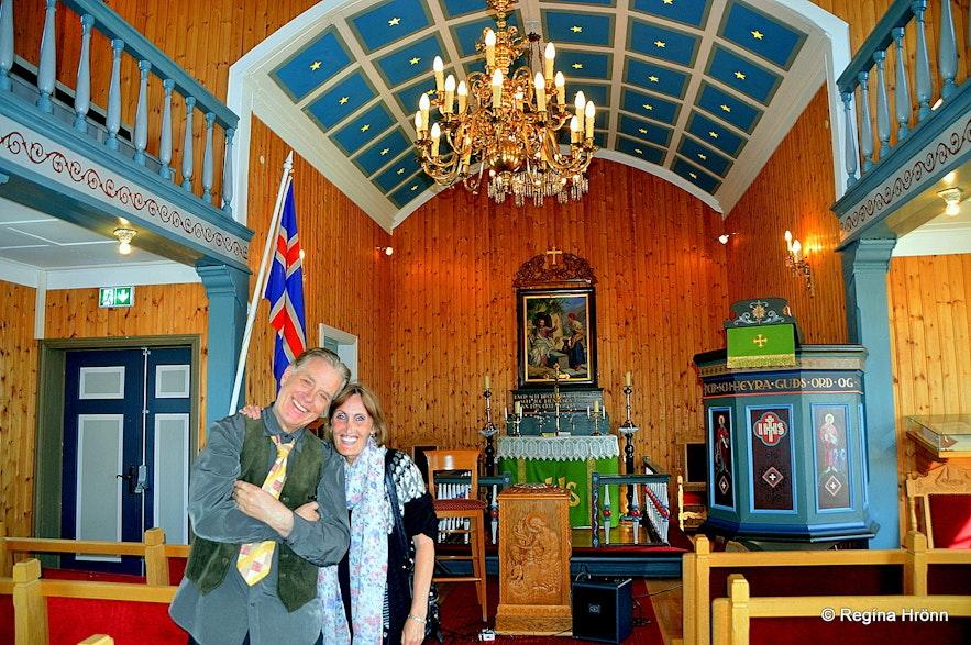 Regína with Valgeir Guðjónsson in Eyrarrbakkakirkja church
