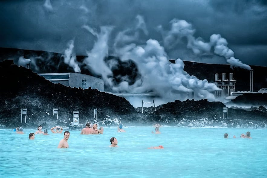 Bathers enjoying the soothing atmosphere of Iceland's Blue Lagoon.