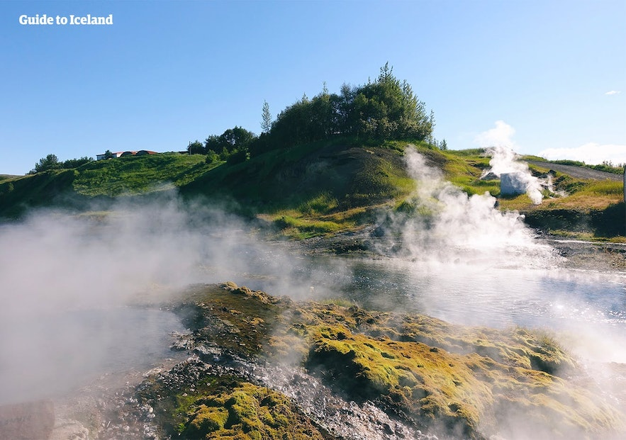 An example of the geothermal activity surrounding the Secret Lagoon.