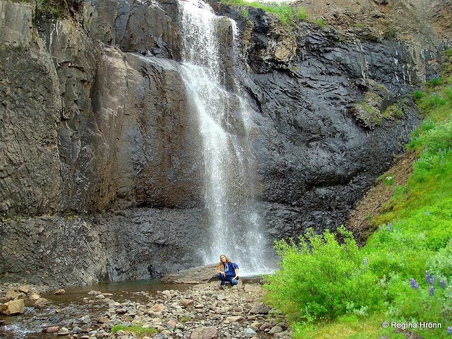 Regína by Ljósárfoss waterfall in Hallormsstaðaskógur forest