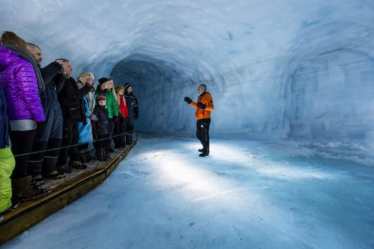 An experienced glacier guide will lead you through the intricate ice cave tunnels at Langjökull glacier.