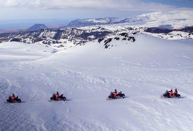 Snowmobiling on Myrdalsjokull Glacier & South Coast Waterfalls