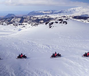 Snowmobiling on Myrdalsjokull Glacier & South Coast Waterfalls